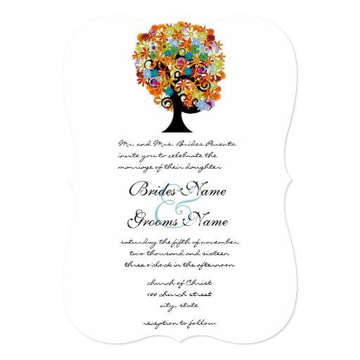 Multi Coloured Flower  Love Tree Wedding 13 Cm X 18 Cm Invitation Card