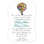 Multi Coloured Flower  Love Tree Wedding Invitation