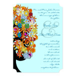 Multi Coloured Flower  Love Tree Wedding Personalized Announcements
