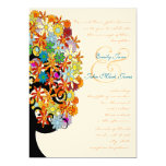 Multi Coloured Flower  Love Tree Wedding Personalised Invites