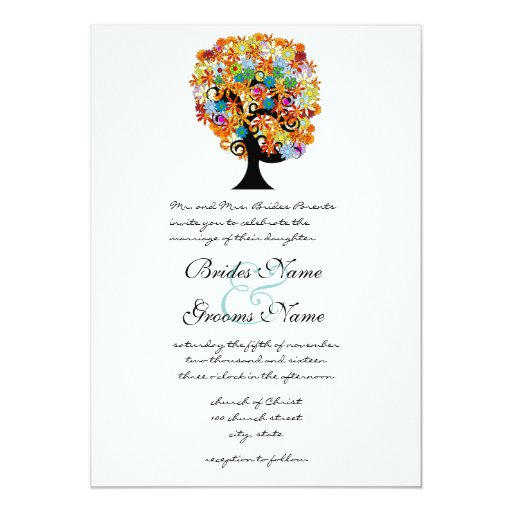 Multi Coloured Flower  Love Tree Wedding Personalised Announcements