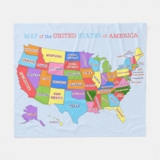 Multi-Coloured Map Of the United States Fleece Blanket