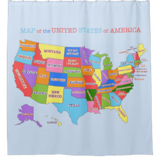 Multi-Coloured Map Of the United States Shower Curtain