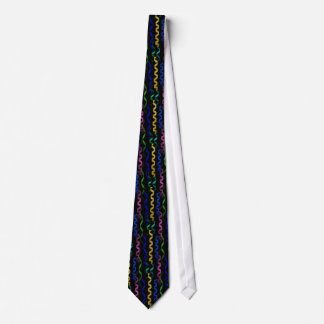 Multi-coloured Party Streamers on Black Tie