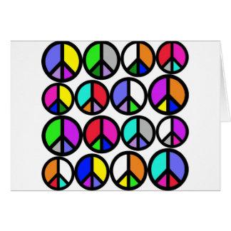 Multi-coloured Peace Symbols Card