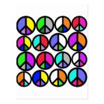 Multi-coloured Peace Symbols Postcard