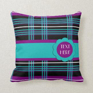 Multi-coloured Plaid Stripes American MoJo Pillows Throw Cushions