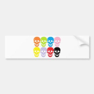 multi coloured skulls bumper sticker