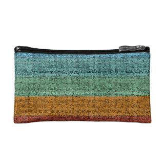 Multi-coloured Striped Canvas Texture Cosmetic Bag