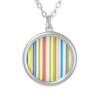 Multi Coloured Stripes Silver Plated Necklace