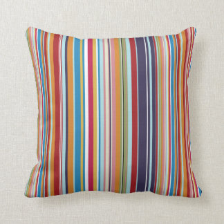 Multi-coloured stripes throw pillow