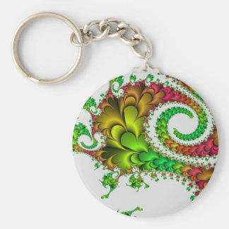 Multi-coloured swirl abstract basic round button key ring