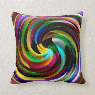 Multi Coloured Swirl Retro Art Design Abstract Cushion
