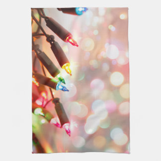 Multi-coloured Twinkle Lights Christmas kitchen Tea Towel