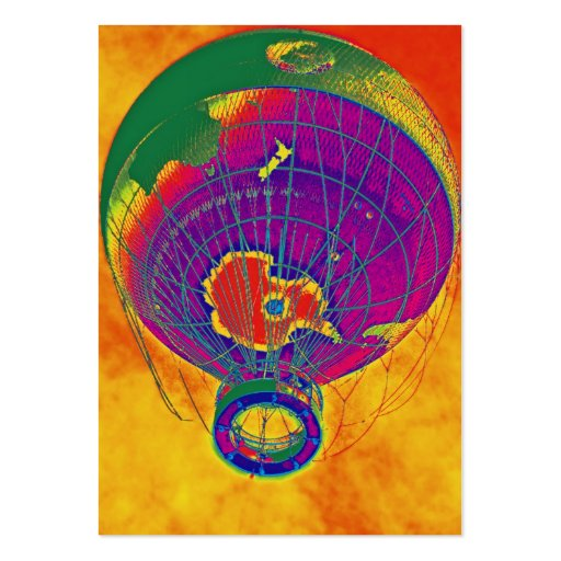 Multi-coloured World Globe Balloon, Orange Sky Business Card