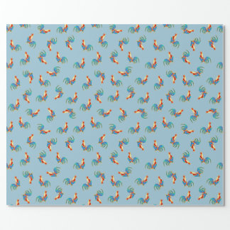 multi colourful crowing cockerels wrapping paper