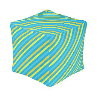 Multi Diagonal Stripe Blue Design Pouf