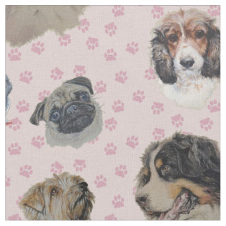 Multi dogs with pink paws. fabric