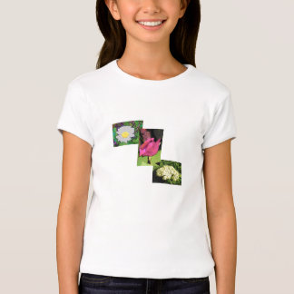 Multi-Floral Cartoon Girls Fitted T-Shirt