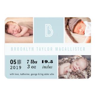 Multi Grid Baby Stats Photo Birth Announcement