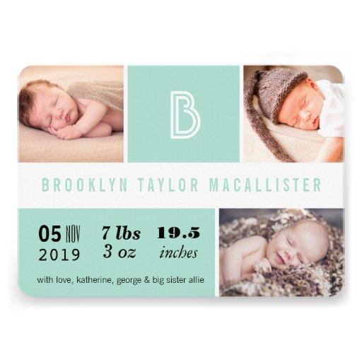 Multi Grid Baby Stats Photo Birth Announcement Personalized Invites