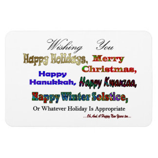 Multi Holiday greeting Rectangular Photo Magnet
