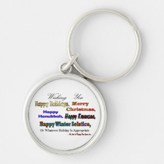 Multi Holiday greeting Silver-Colored Round Key Ring