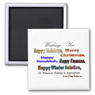Multi Holiday greeting Square Magnet