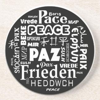 Multi language peace mandala design coaster