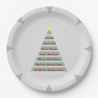 Multi-lingual Christmas Greeting Christmas Tree 9 Inch Paper Plate
