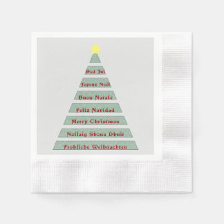 Multi-lingual Christmas Greeting Christmas Tree Disposable Serviettes
