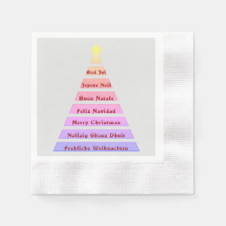 Multi-lingual Christmas Greeting Christmas Tree Paper Napkins