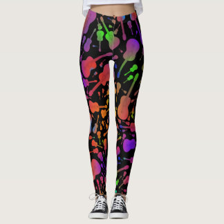 Multi Neon Coloured Guitar Leggings