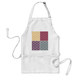 Multi pattern damask color retro trendy chic roses aprons