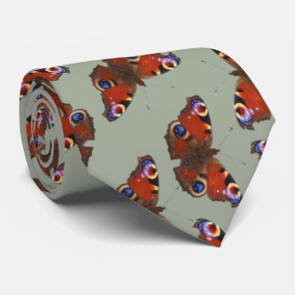 multi Peacock butterfly pattern on grey Tie