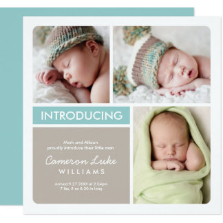 Multi-Photo Birth Announcement Card | Aqua Taupe