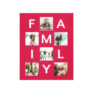 Multi Photo Family Red Photo Canvas