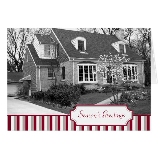 Multi photo red stripe Christmas holiday folded Greeting Cards