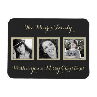 Multi-photo Simple Family Christmas Greeting Rectangular Photo Magnet
