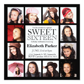 Multi Photo Sweet Sixteen Party 13 Cm X 13 Cm Square Invitation Card