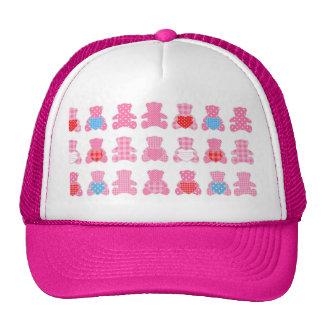 multi pink teddybear pattern cute girly kids baby mesh hat
