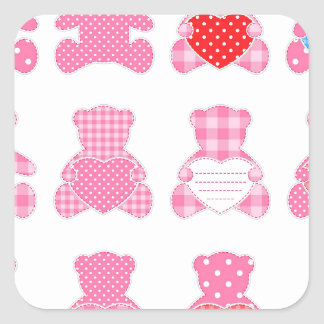 multi pink teddybear pattern cute girly kids baby square sticker