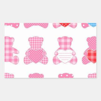 multi pink teddybear pattern, cute girly kids baby stickers