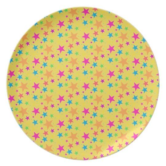 Multi Rainbow Mini Stars - 80s Rock Plate