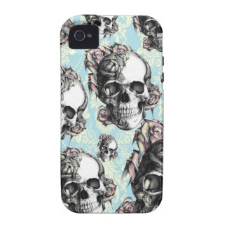 Multi skull and roses Don t be Blue Case-Mate iPhone 4 Covers