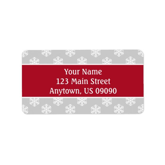 Multi Snowflakes Address Labels (Burgandy/Silver)