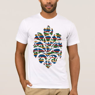 multi stripe scrolls medallion cutout T-Shirt
