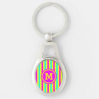 Multi Stripe Yellow Monogram Silver-Colored Oval Key Ring