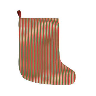 Multi Stripes in Christmas Red, Green & White Large Christmas Stocking