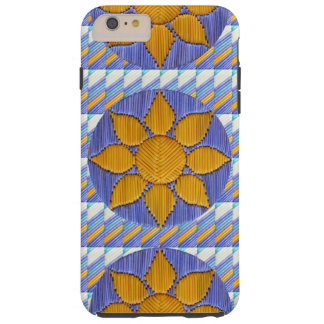 Multi Sunflower with Blue Chevron Tough iPhone 6 Plus Case